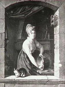 Een keukenmeid bij het venster