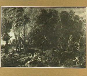 Landschap met de jacht van Meleager en Atalante op het Caledonische everzwijn (Ovidius, Metamorfosen, VIII, 229-237)