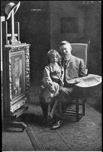 De schilder Evert Pieters met zijn zoontje in zijn atelier