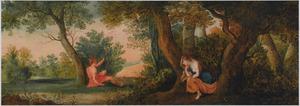 Kunstkastje beschilderd met taferelen uit de klassiek mythologie: Salmacis bespiedt Hermaphroditus aan de bron (Ovidius, Metamorfosen IV, 288)