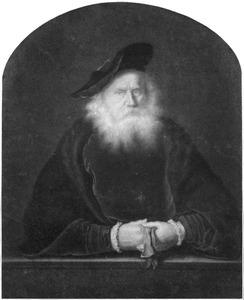 Halffiguur van een oude man met baard en baret