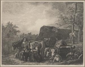 Figuren en dieren in een landschap