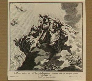 Mozes biddend op de berg, ondersteund door Aäron en Ur (Exodus 17:9-13)
