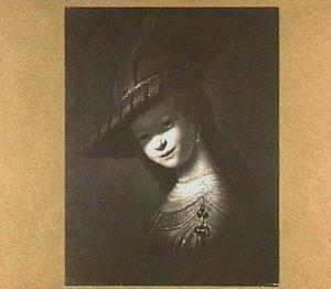 Buste van een lachende, jonge vrouw, mogelijk Saskia van Uylenburgh
