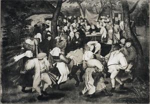 Dansende boeren op een bruiloftsfeest in de open lucht