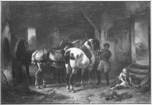 Stalinterieur met vier paarden