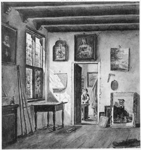 Een hoekje van het atelier van de schilder