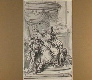 Hollandse Maagd, vergezeld door de Hollandse leeuw met pijlenbundel,  kroont een bevelhebber  met een lauwerkrans