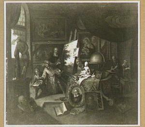 Gezicht in het atelier van een schilder
