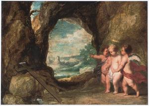 Het Christuskind vindt, geflankeerd door twee engeltjes het kruis in een grot