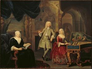 Portret van Jacob Ploos van Amstel 1695-1760), Sara Rothé (1692-1751) en waarschijnlijk Margaretha van Tol (....-1734)