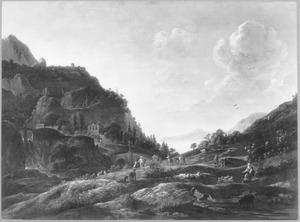 Berglandschap met herders, boeren en reizigers