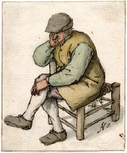 Zittende boer met zijn rechterarm over de achterkant van een stoel
