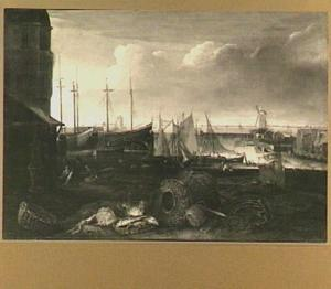 De Grashaven in Hoorn, met op de kade een stilleven van vissen en manden