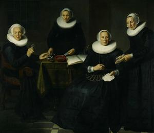 Portret van Lijsbeth Hendricksdr. Haeck (1559-1638) en Stijntje Thomas, met twee binnenmoeders van het Spinhuis te Amsterdam
