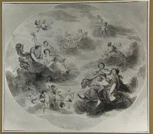 Apollo omringd door putti en de negen Muzen