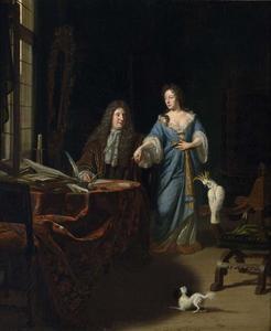 Portret van een echtpaar in een rijk interieur