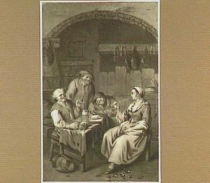 Boereninterieur met pijprokende vrouw, gadegeslagen door drie lachende mannen