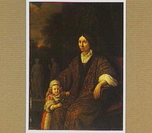 Portret van een zittende vrouw met een kind