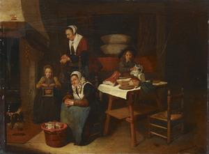 Interieur met twee vrouwen en twee kinderen