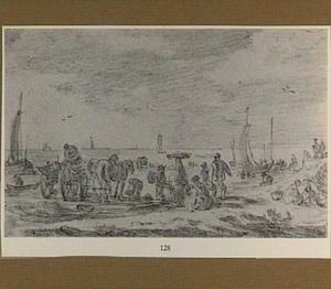 Strandgezicht met vissers en paard-en-wagen