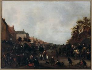 Dorpsgezicht met paardenmarkt