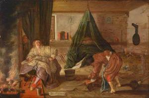 Interieur met een man die de vloer dweilt en een jonge vrouw die bij het vuur zit