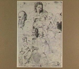 Studies van Maria met kind en andere figuren