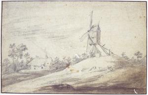 Landschap met windmolen op een heuveltje