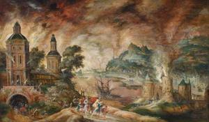 Landschap met Aeneas en zijn familie die het brandende Troje ontvluchten