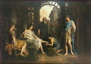 Abraham ontvangt de drie engelen en wast hun voeten (Genesis 18:3-5)