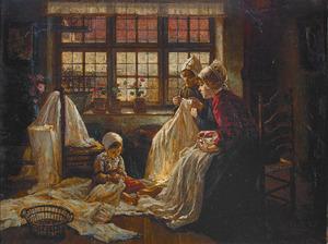 interieur met Hollandse boerinnen in klederdracht, handwerkend