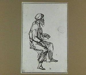 Zittende bebaarde man, naar rechts
