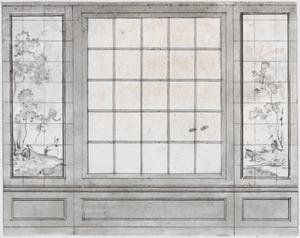 Wand met twee behangselvlakken ter weerszijden van een breed raam
