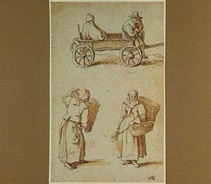 Boheemse boeren in kar en boerinnen met manden