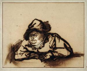 Portret van de acteur Willem Bartolsz. Ruyter (1584-1639) in een boerenrol