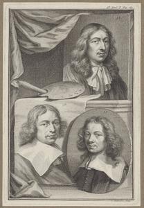 Portretten van Caspar Netscher (....-1684), Job Adriaensz. Berckheyde (1630-1693) en Gerrit Adriaensz. Berckheyde (1638-1698)