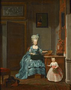 Portret van Susanna Cornelia Mogge (1753-1806) en haar dochter Johanna Ferdinanda van Collen (1774-1833), een postuum portret van Ferdinand van Collen (1741-1773) aan de wand