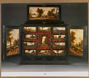 Een ebbehouten kunstkabinet ingelegd met schildpad en voorzien van 14 beschilderde paneeltjes met landschapsvoorstellingen