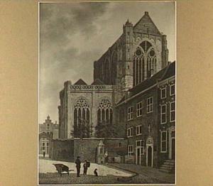 Gezicht op het Munsterkerkhof, met rechts de ingang van de Hogeschool en links het Groot Auditorium te Utrecht
