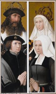 Portret van een stichter met patroonheilige (links), portret van een stichtster met patroonheilige (rechts)