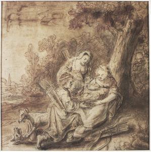 Meleager geeft Atalanta de kop van het Calydonische everzwijn (Metamorfosen 8, 426-431)