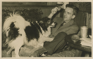 Portret van Alloys Johann Kreuzer met zijn hond Bartje