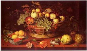 Vruchtenstilleven in een rieten mand