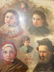 Portetstudies van een man, vrouw en kinderen