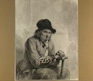 Het Pictura-model Pieter van Arendonk, zittend met wandelstok