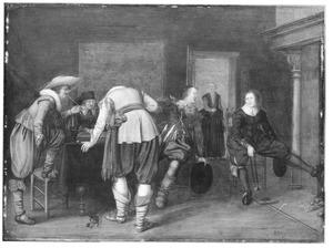 Rokende, drinkende en triktrakspelende mannen in een interieur