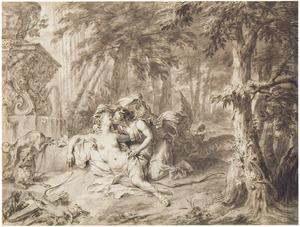 Jupiter in de gedaante van Diana, met Callisto (Metamorfosen 2:442-453)