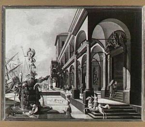 Zuidelijk havengezicht met zuilengalerij van een paleis