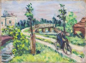 Landschap met fietser
